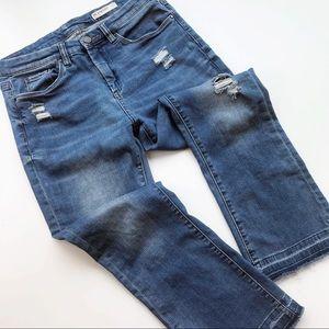 Blank NYC Kickflare Distressed Jeans Hi Waist Crop